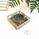 Boîte à alliances personnalisée en verre mariage couronne de fleurs