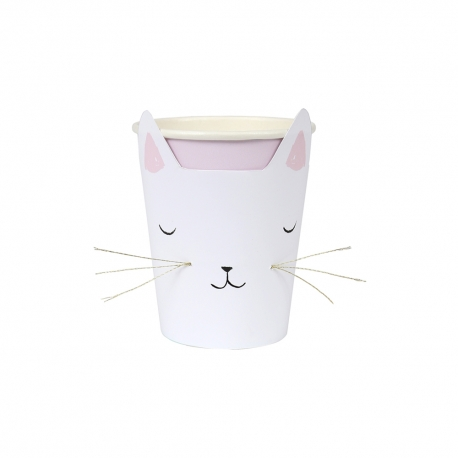 Gobelet en carton tête de chat anniversaire ou baptême