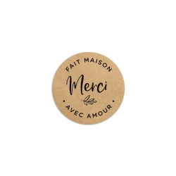 Sticker rond merci kraft