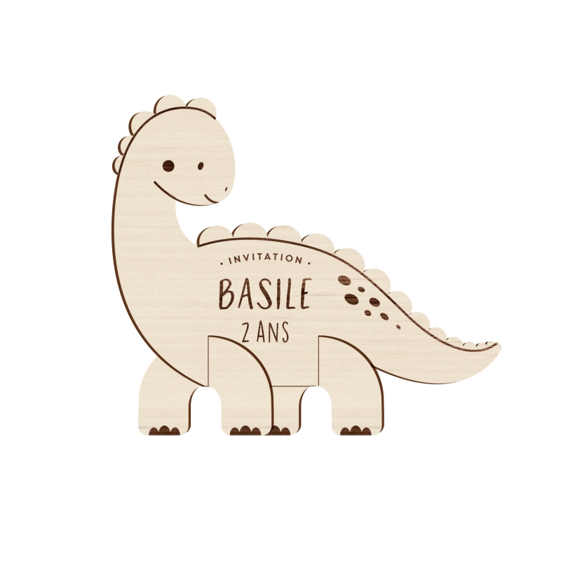 Anniversaire dinosaure, invitation originale en bois - Print Your Love