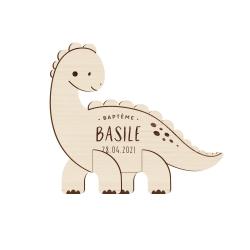Faire-part baptême original en bois dinosaure