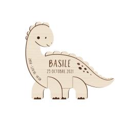 Faire-part naissance original en bois dinosaure