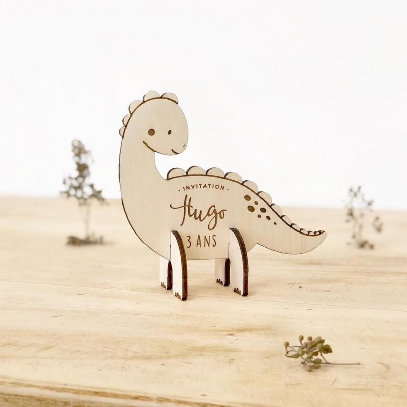 Anniversaire Dinosaure Invitation Originale En Bois Print
