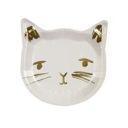 Assiette en carton chat avec dorure