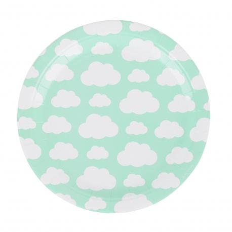 Assiette en carton petits nuages couleur vert menthe
