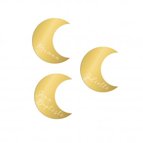 Marque-place personnalisé thème lune plexiglas doré