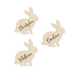 Marque-places personnalisés baptême ou anniversaire forme lapin