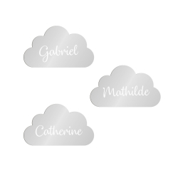Marque-place personnalisé en forme de nuage pour baptême