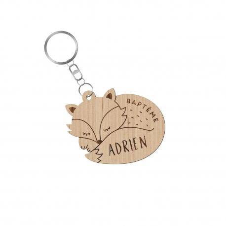 Porte-clés personnalisé renard endormi cadeaux d'invités baptême