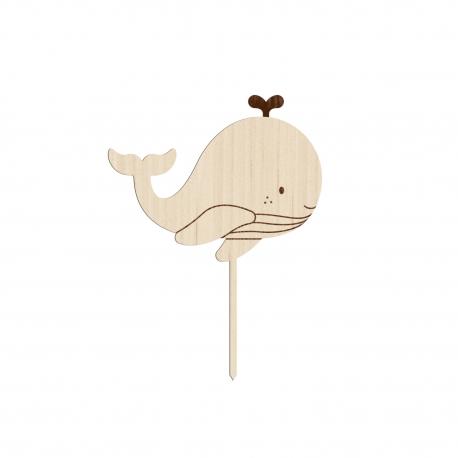Cake topper en bois ou plexiglas baleine thème marin
