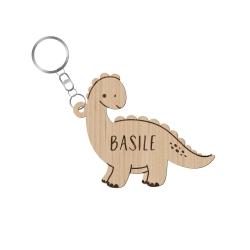 Porte-clé en bois dinosaure avec prénom enfant