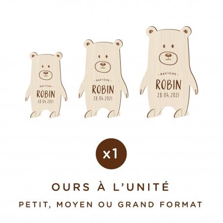 Ours en bois personnalisé avec prénom et date
