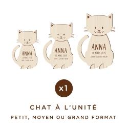 Chat en bois personnalisé avec prénom et date