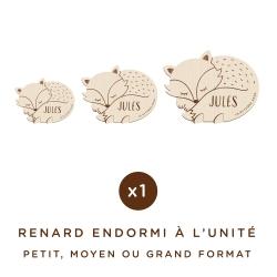 Renard endormi en bois personnalisé avec prénom et date