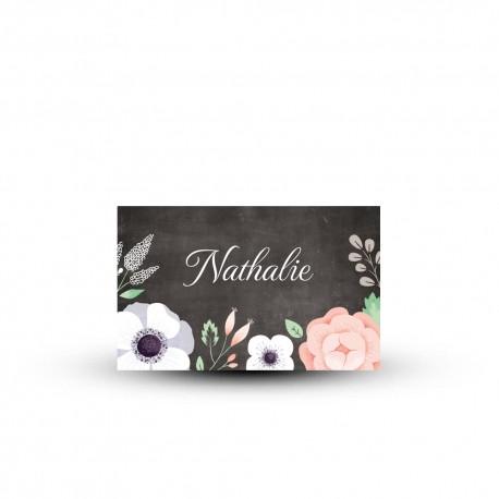 Marque-place personnalisé mariage vintage ardoise et fleurs