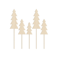 Lot de 5 grands cake toppers sapin