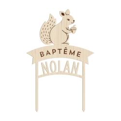 Cake topper baptême personnalisé thème forêt écureuil