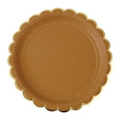 Assiette kraft festonnée avec dorure
