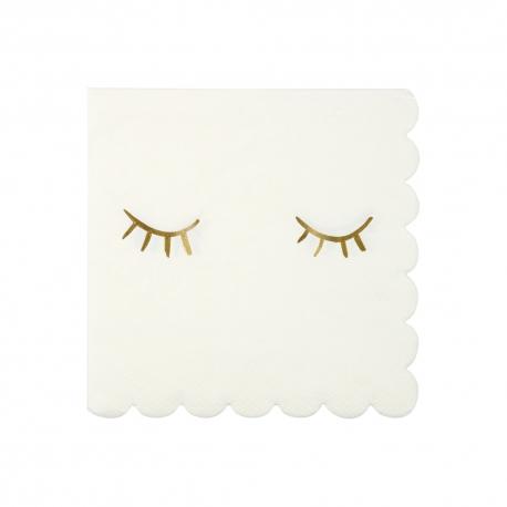 Serviette blanche festonnée yeux fermés