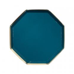 Assiette octogonale bleu vert avec dorure thème marin