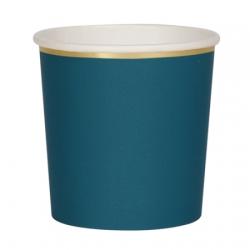 Gobelet bleu vert finition or