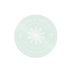 Dessous de verre personnalisé mariage d'hiver modèle flocon de neige