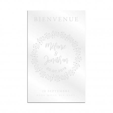 Panneau de bienvenue mariage plexiglas transparent couronne de gypsophile