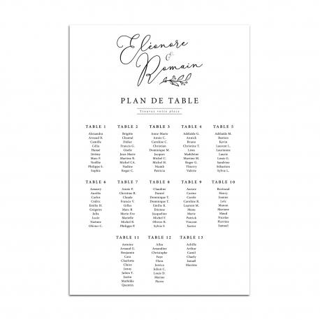 Plan de table mariage panneau XXL à personnaliser