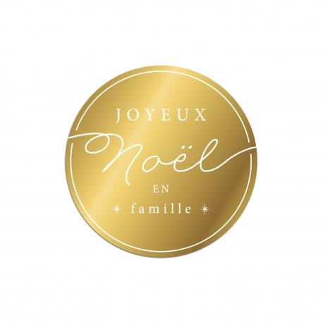 Joli dessous de verre plexiglas or joyeux Noël en famille
