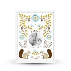 Affiche de naissance personnalisée Petits écureuils scandinave