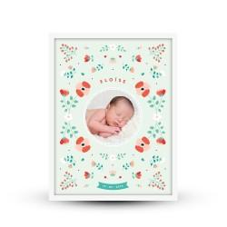 Affiche naissance personnalisée Fleurs printanières scandinave