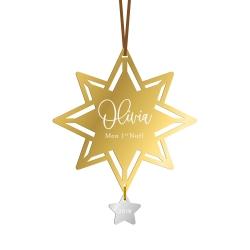 Boule de Noël personnalisée avec prénom en forme d'étoiles