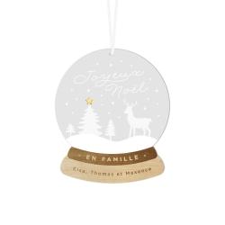 Boule de Noël personnalisée modèle boule à neige famille