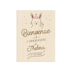 Panneau de bienvenue personnalisé anniversaire lapin