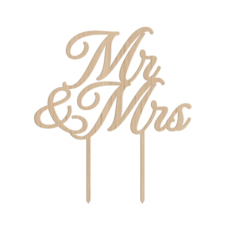 Cake topper mariage en bois Mr & Mrs