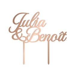 Cake topper mariage personnalisé calligraphie en plexiglas rose gold