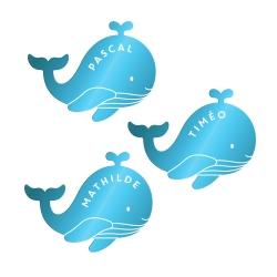 Marque-places baleine personnalisés baptême