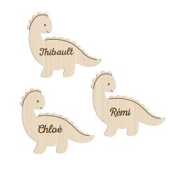 Marque-place en bois personnalisé dinosaure baptême ou anniversaire