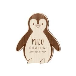 Faire-part naissance en bois original pingouin