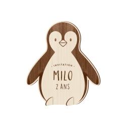 Invitation anniversaire originale en bois Pingouin thème Pôle nord