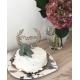 Cake topper anniversaire couronne fleurie en bois