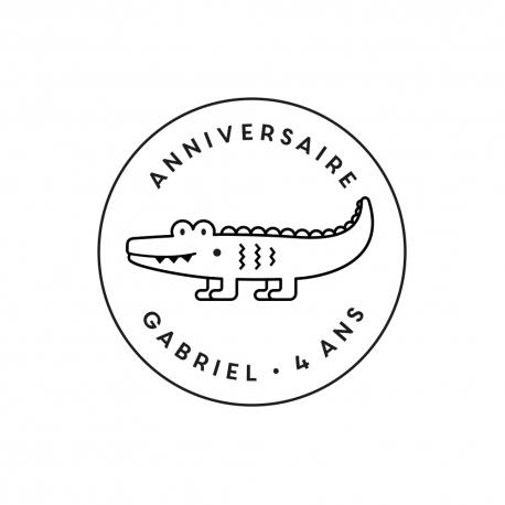 Tampon encreur personnalisé crocodile anniversaire jungle