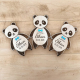 Invitation baptêmes originale en bois panda