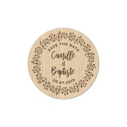 Magnet en bois mariage save the date couronne de gypsophile