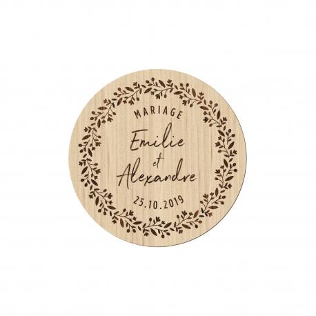 Magnet en bois personnalisé mariage couronne champêtre