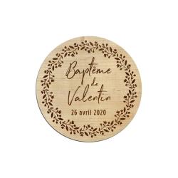 Dessous de verre personnalisés en bois cadeaux baptême