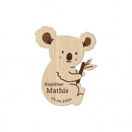 Magnet en bois personnalisé baptême koala