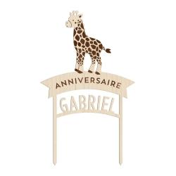 Cake topper personnalisé girafe anniversaire savane