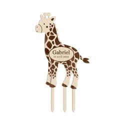 Cake topper anniversaire personnalisé girafe thème savane