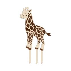Cake topper en bois forme girafe thème safari